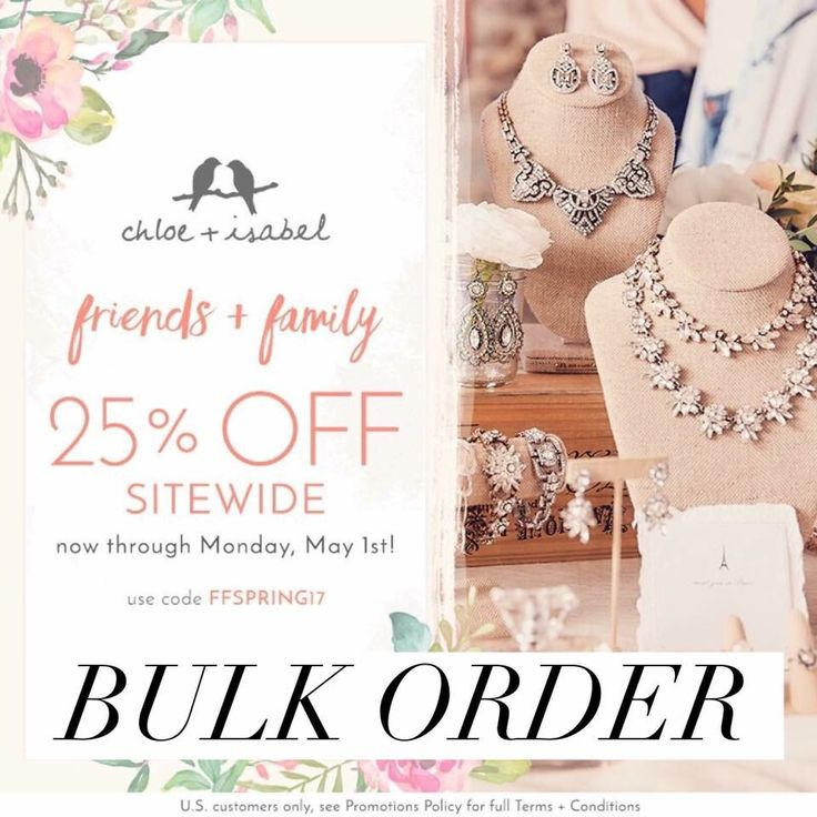 For all of my Friends+Family I'm offering a BULK ORDER!!! You'll save 25% off everything, PLUS I'll cover tax and shipping! This is the perfect time to grab a few gifts for Mother's Day, Teacher appreciation day, graduation, birthday's, or even something sparkly to treat yourself! www.chloeandisabel.com/boutique/kimmiesimmons Message me your order or comment below and I'll reach out!