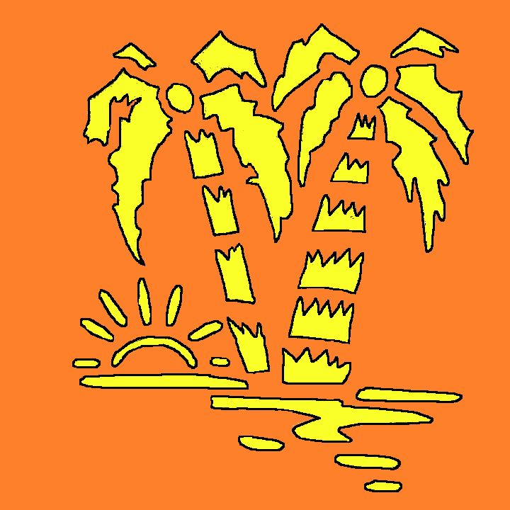 Palm trees pumpkin carving template from wicked coach