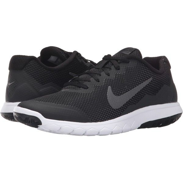 Nike Flex Experience Run 4 (Black/Anthracite/White/Metallic Dark Grey)... ($40) ❤ liked on Polyvore featuring shoes, athletic shoes, black, black mesh jersey, white jersey, black jersey, black white shoes and cushioned running shoes