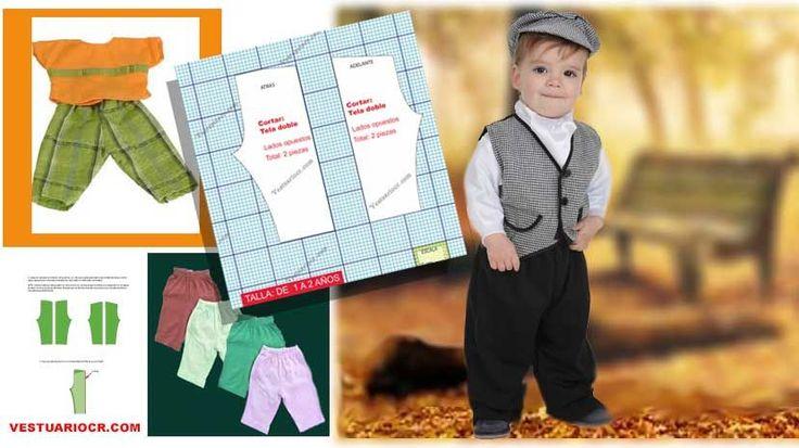 Patrón pantalón niño 1 a 2 años gratis | molde Bermuda, capri, short | ropa bebe