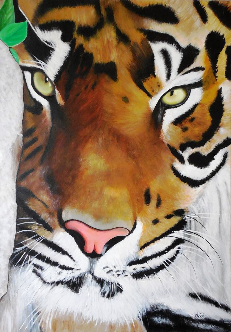 Natalia González, Tigre de Bengala ORIGINAL acrílico 70x100 cms (pintura original, inspirada en fotografía)
