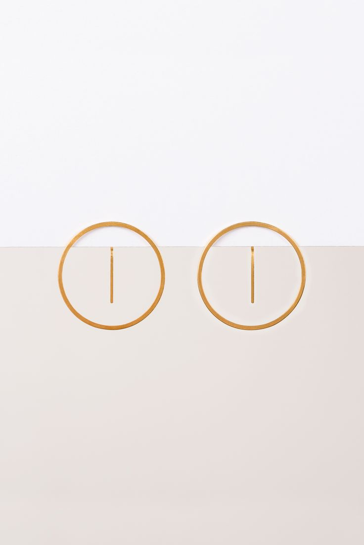 Minimalist Architectural Jewelry - Équateur Earrings in 18K Gold Plated Sterling Silver by MOPHT Studio