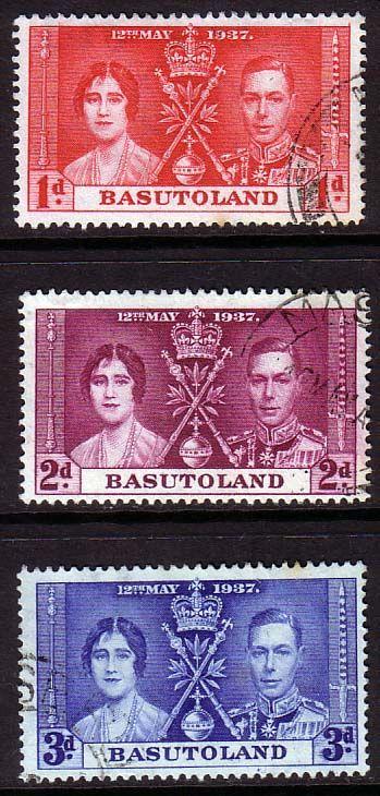 Basutoland 1937 King George VI Coronation Set Fine Used SG 15 7 Scott 15 7 Other Coronation Stamps HERE