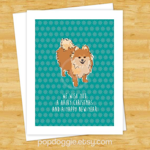 Dog Christmas Cards  Pomeranian We Wish You a Hairy by PopDoggie, $3.99
