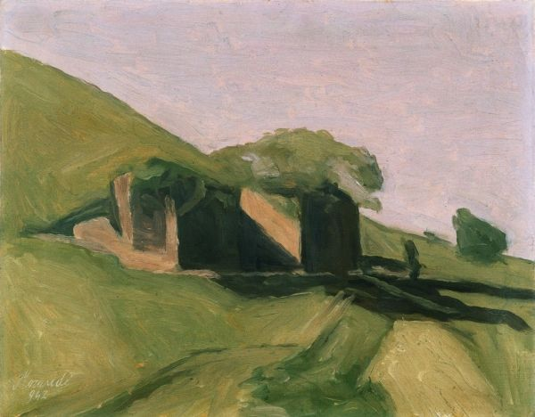 Giorgio Morandi,  Paesaggio o Paesaggio grigio con strada,  1942,  olio su tela, cm 38,5 x 48, Fondazione Domus per l'arte moderna e contemporanea