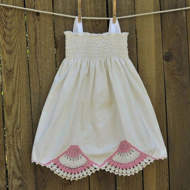 Girls Vintage Crocheted Dress Antique White by SageNThymeDesigns, $40.00