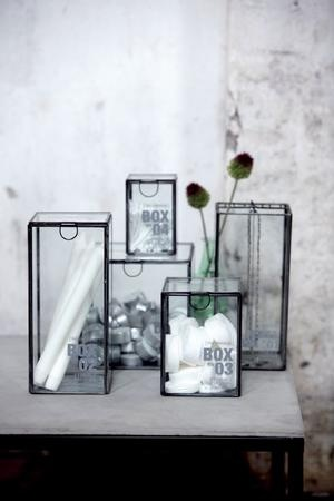 glazen vitrine kistjes