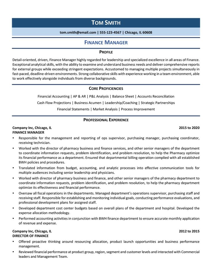 Finance manager resume samples examples for 2020