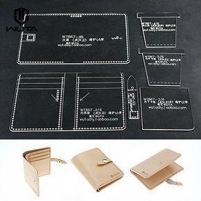 Transparente De Acrílico de plexiglás LeatherCraft patrón de papel Billetera Tarjeta Funda plantilla