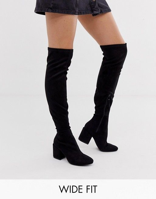 92be7314bc2 RAID Wide Fit Kola black round toe over the knee boots in 2019
