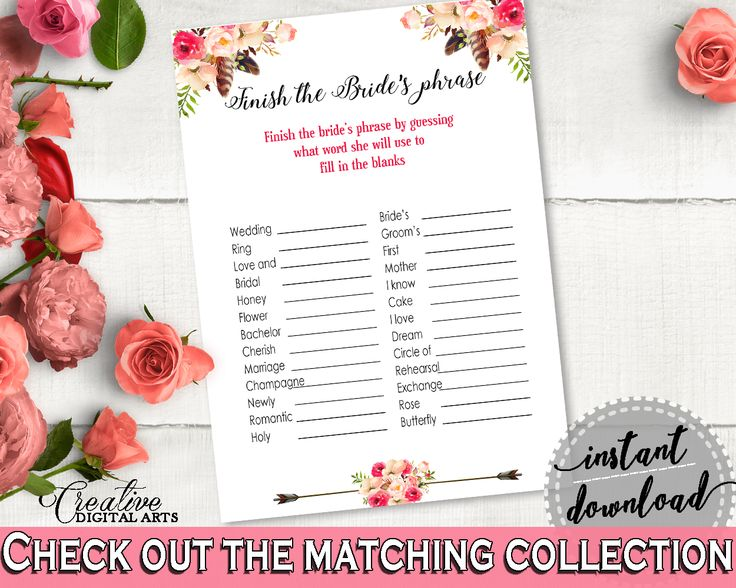 Finish The Bride's Phrase Game in Bohemian Flowers Bridal Shower Pink And Red Theme, finish the phrase, shower activity, prints - 06D7T #bridalshower #bride-to-be #bridetobe