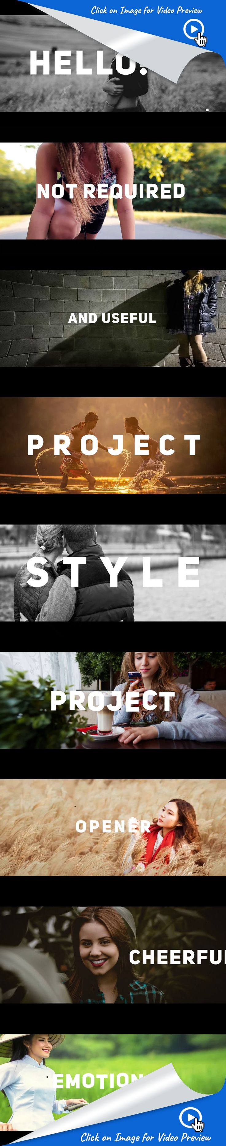 3d, action, beat, city, dynamic, film, happy, hip-hop, kinetic, modern, opener, promo, slideshow, travel, urban, after effects templates  Fast Render  Works with photo or video footage No Plugins Required Compatible with After Effects CS6, CC, CC 2014, CC 2015 CC 2017 and above Modular Structure Full HD (1920/1080)  Video tutorial included Works in every language version of After Effects 100% After Effects Very easy to use Text placeholders for photo or video footage Font is free, link…