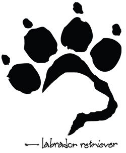 paw print with lab head inside it