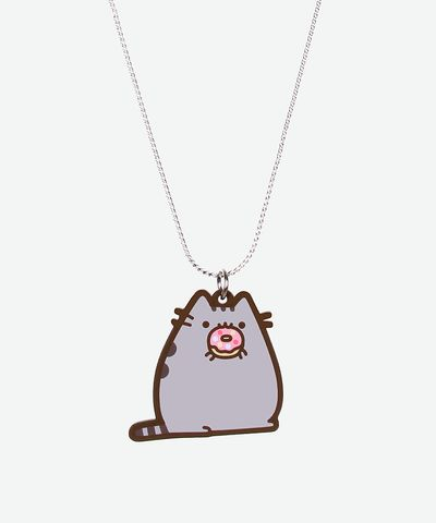 Donut Pusheen necklace - Hey Chickadee - I need this in my life.