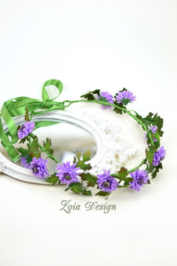 Bridal wreath hair crown chrysanthemum wedding by ZoiaDesign