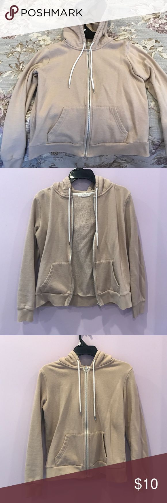Beige zip up hoodie Extremely comfortable beige hoodie, slightly worn Forever 21 Sweaters Crew & Scoop Necks