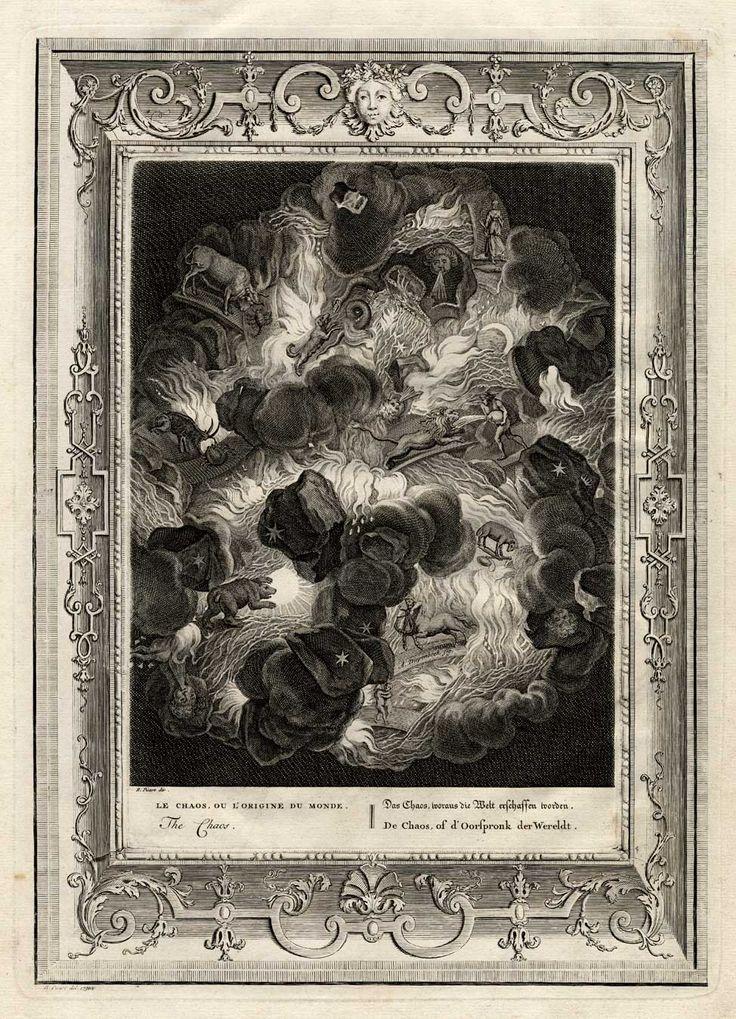 The Prints Collector :: Chaos - a mythological engraving by Bernard Picart (1673-1733) from 'Tempel der Zang-Godinnen'.