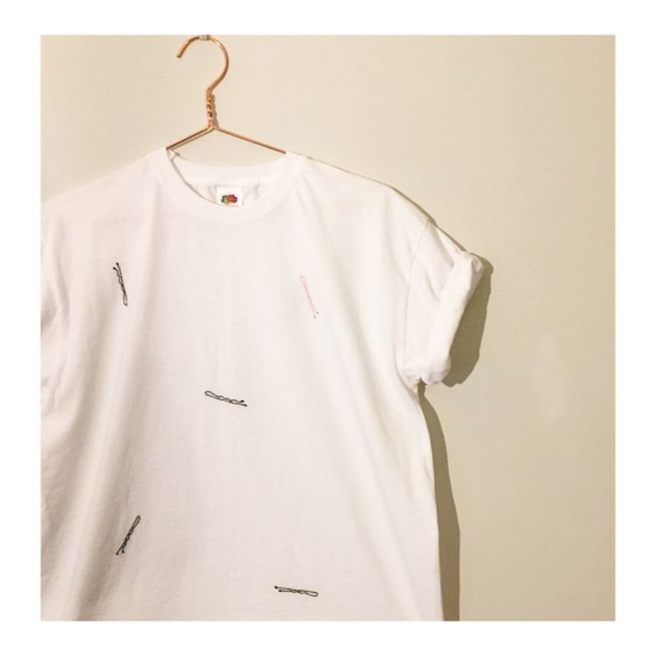 Bobby pin hand embroidered unisex tee £20