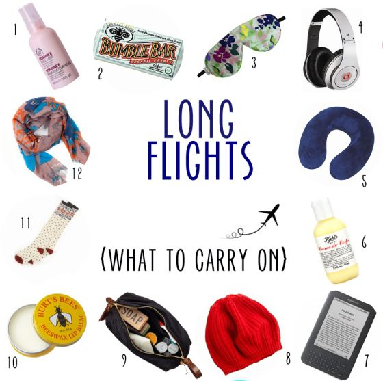 Carry-on list of must-haves for flights of 7-14 hours... geared toward women, but also applicable to the guys.