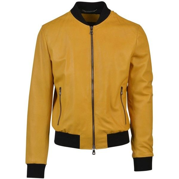 Dolce Gabbana Mustard Yellow Leather Bomber Jacket ($1,550) ❤ liked on Polyvore featuring outerwear, jackets, ocher, bomber style jacket, mustard yellow jacket, mustard leather jacket, bomber jacket and brown bomber jacket
