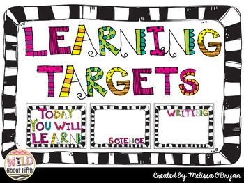 It is important to post learning targets for students to see and discuss.  I created these learning target posters to go with the zebra print theme in my classroom.  You can laminate them and then write the learning targets for each day with a Vis a Vis or dry erase marker.