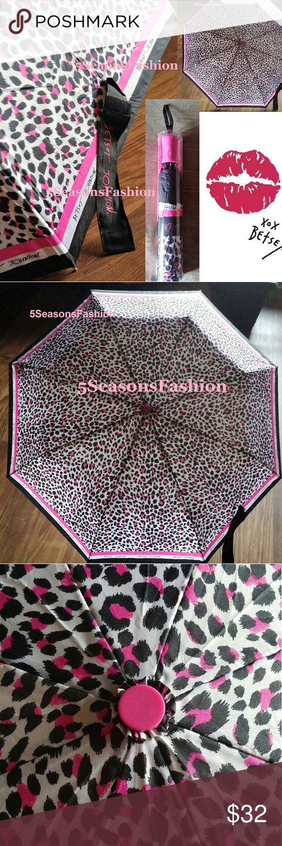 "BETSEY JOHNSON Leopard Print AUTOMATIC Umbrella New in its original packaging. Stunning pink and black leopard print umbrella by Betsey Johnson. 42"" automatic. Pink matt coated handle. Absolute must have for every fashionista! Betsey Johnson Accessories Umbrellas"