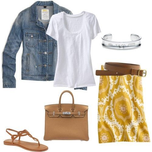 I like this whole outfit! Nice jean jacket. Yellow skirt with plain white shirt. Super cute! Stitch Fix spring/summer 2016