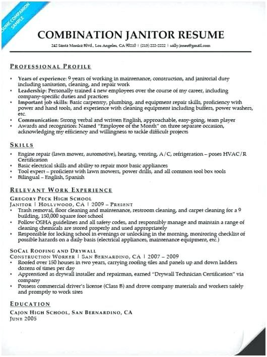 Sample Janitor Resume Custodian Of Template Worker