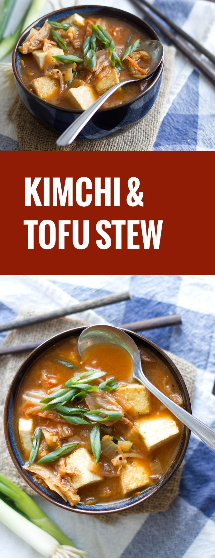 Warm up, with this spicy vegan kimchi stew that's made with with tender shiitake mushrooms and crispy pan-fried tofu.
