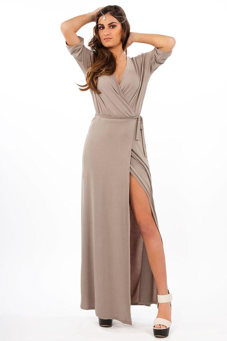Γυναικεία ρούχα : Φόρεμα μακρύ σταυρωτό ΜΠΈΖ
