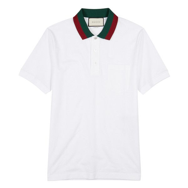 Gucci White Piqué Cotton Polo Shirt ($525) ❤ liked on Polyvore featuring men's fashion, men's clothing, men's shirts, men's polos, mens cotton shirts, mens pique polo shirts, mens white polo shirt, gucci mens shirts and mens white cotton shirts