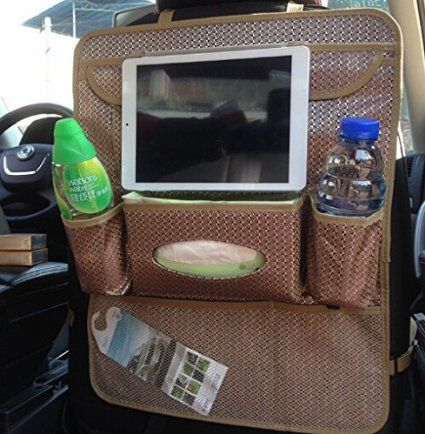 ECVISION Kopfstütze Auto Rücksitz hängen Veranstalter Speicher Veranstalter Premium Qualität Auto Rücksitz abnehmbare Pocket Protektoren Halter Multi Pocket Reisen Storage Bag - perfekt für Ihre Kinder Autozubehör, Ipad, Tablets, Spielzeug, Sippy Cups, Wasserflasche, Tissue Box, etc. - entfernen Junk und Clutter-Keep zerbrechliche Gegenstände sicher und Secure-Protected Autositze von Verschmutzung und Beschädigung (Beigh/iPad Halter): Amazon.de: Küche & Haushalt
