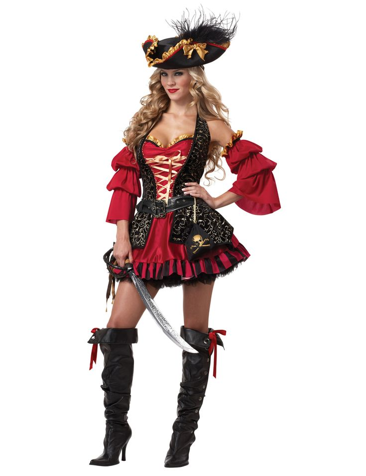 Disfraz Pirata rojo para mujer -Premium: Este disfraz de Pirata para mujer incluye vestido, 2 mangas, sombrero, cinturón y bolsa (sable, enagua y botas no incluidos). El vestido es corto y ajustado en el pecho con escote. Hay una...