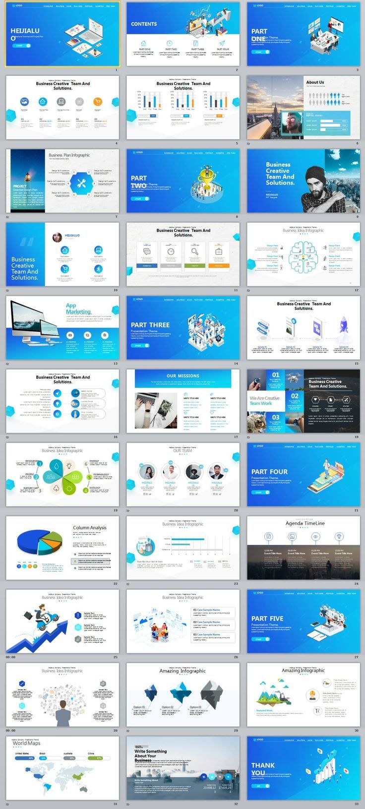 33 business website ui design powerpoint template icon set