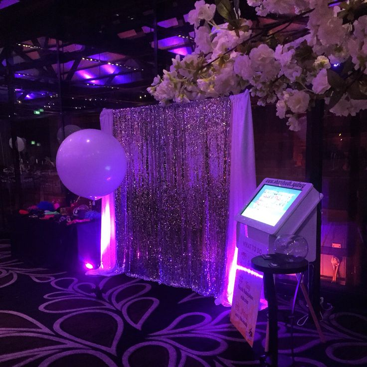 Our InstaBar ( Instagram Printing Station) with a silver sequin backdrop