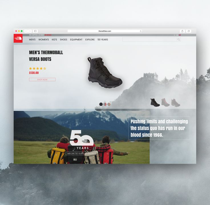The North Face - Shoes Website Slider Concept    on Behance