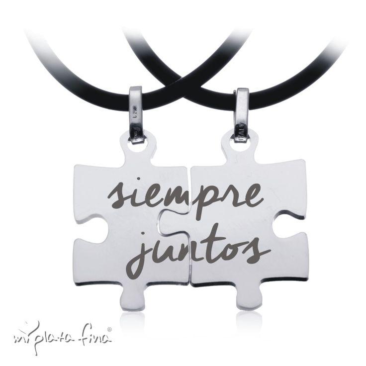 Colgante duo en piezas de PUZZLE de plata de ley y grabado personalizado. #joyasquehablandeti #miplatafina
