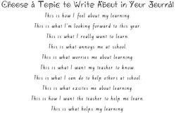 Topics to write about in learning journals (word doc) fifthgradeflock-com