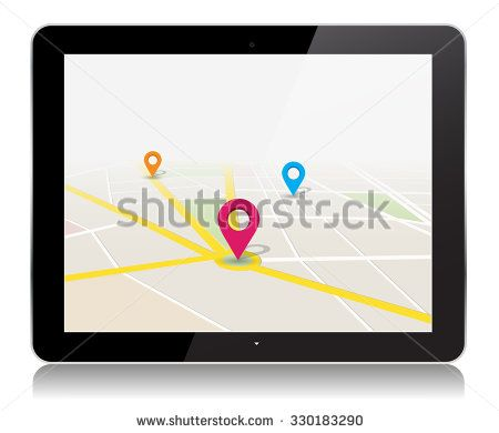This image is a vector file representing a tablet with a map location app Vector Design Illustration./Vector Tablet Map Location App/Vector Tablet Map Location App