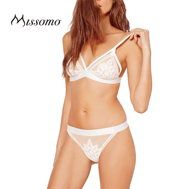 SEXY  Missomo 2017 New Fashion Women Soft Mesh Underwear Panties Adjustable Bralette White Sexy Lace Straps Deep V Bra Sets