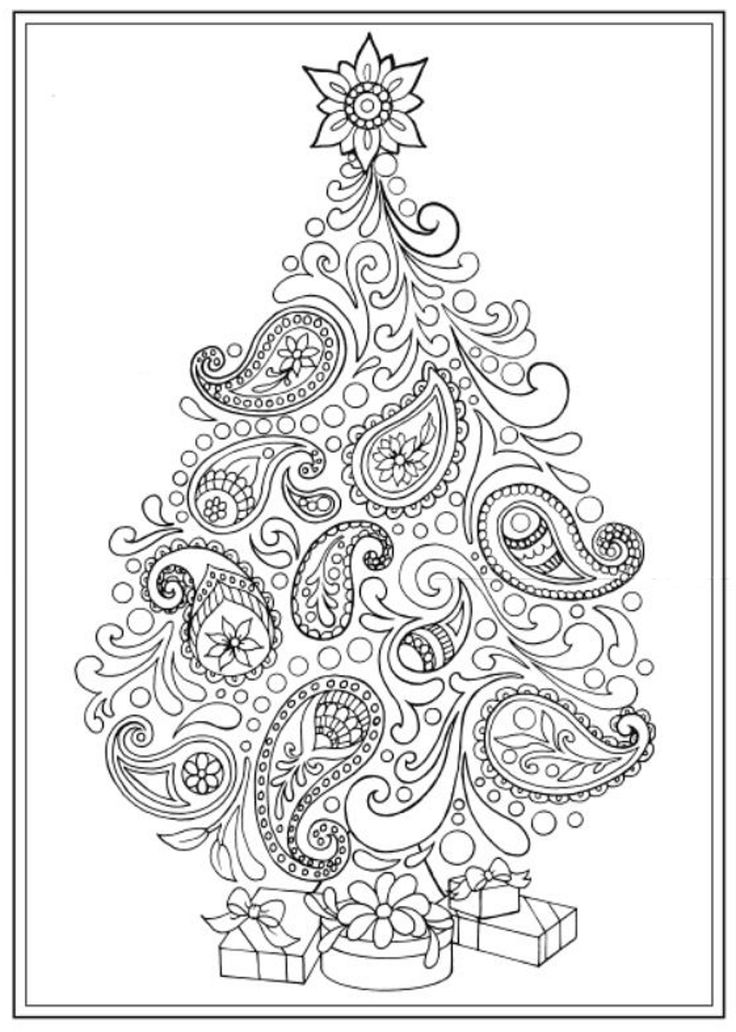 Creative Haven Christmas Trees Coloring Book, Dover Publications Christmas Coloring pages colouring adult detailed advanced printable Kleuren voor volwassenen coloriage pour adulte anti-stress kleurplaat voor volwassenen Line Art Black and White Santa Noel Peace Gift decoration Toy Present Elf Ornament Candy Joy Carol Stocking Family