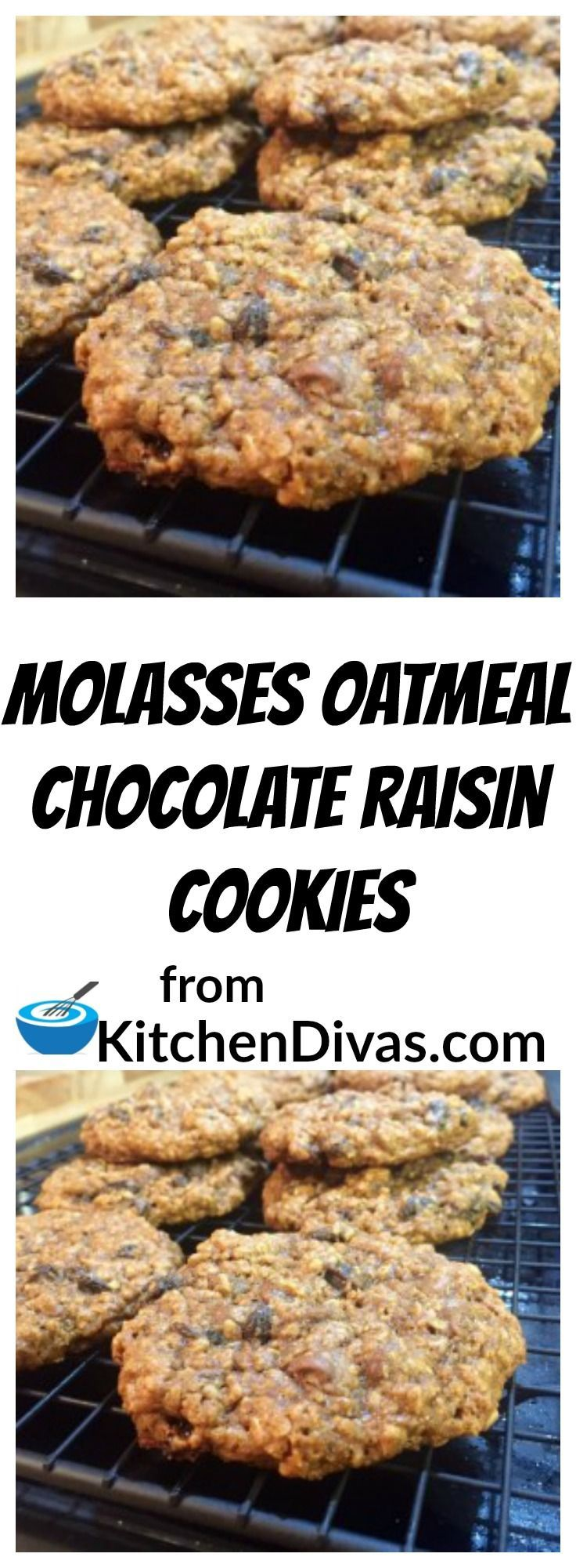 Molasses Oatmeal Chocolate Raisin Cookies remind me of my grandmother, every time I eat one. She was amazing. These cookies are so soft, and so chewy. I just can't get enough of them. They are easy to make and the chocolate always made them taste even better. I always remember the smell in the house when she would make them. You knew what was in the oven as soon as you encountered that smell. Around here everyone feels the same way about these cookies, they don't last long at all.