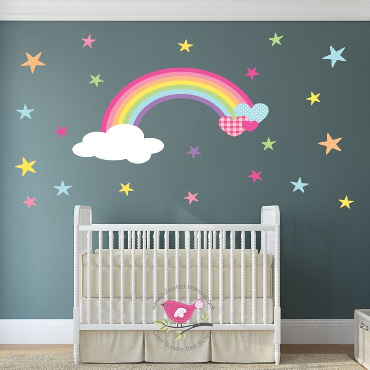 Magical Rainbows, Hearts & Stars Nursery Wall Art Stickers / Decals - pinned by pin4etsy.com