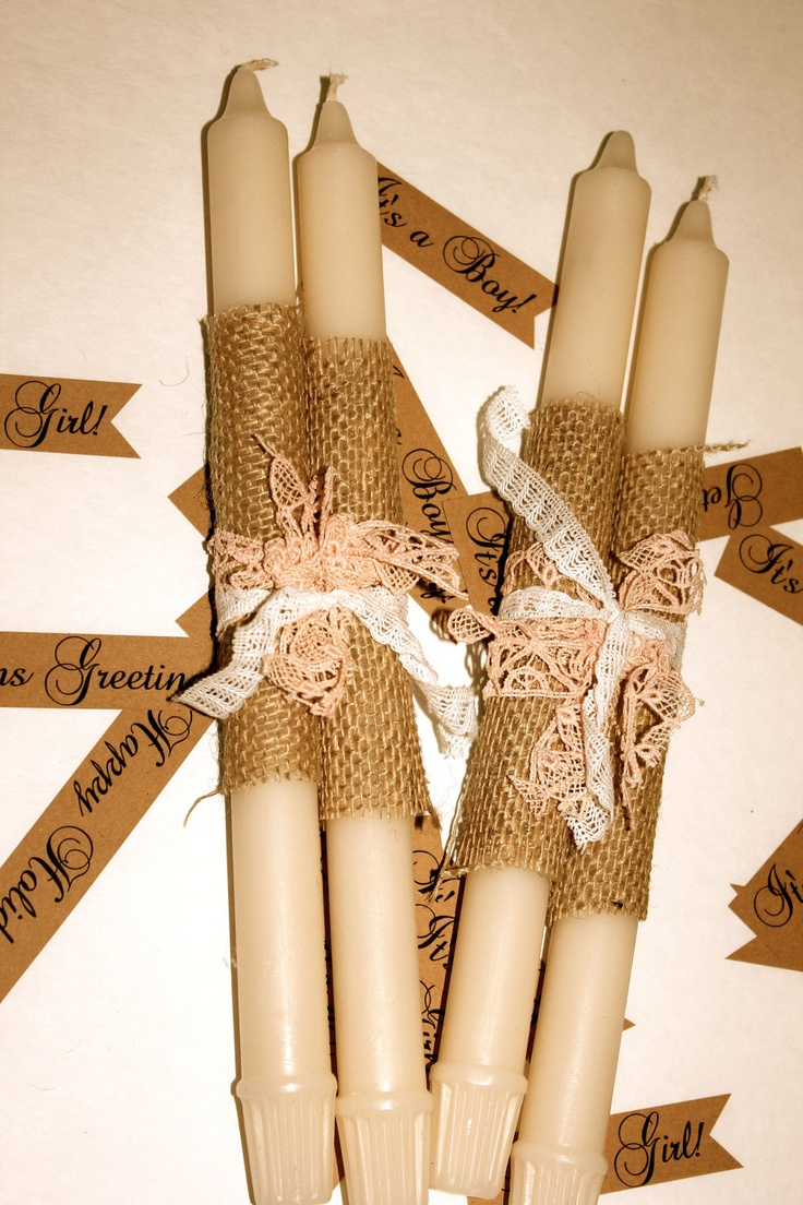 procession candles: burlap, twine & lace wrapped w/ copy of wedding prayer. favors idea?