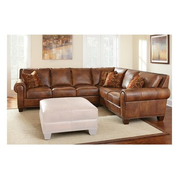 7203 Three Piece Sectional Sofa By Futura Leather: 2-Piece Leather Sectional In Metamorphosis Camel