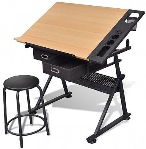 Adjustable Drawing Board Art Artist Design Drafting Table Desk 2 Drawers Stool