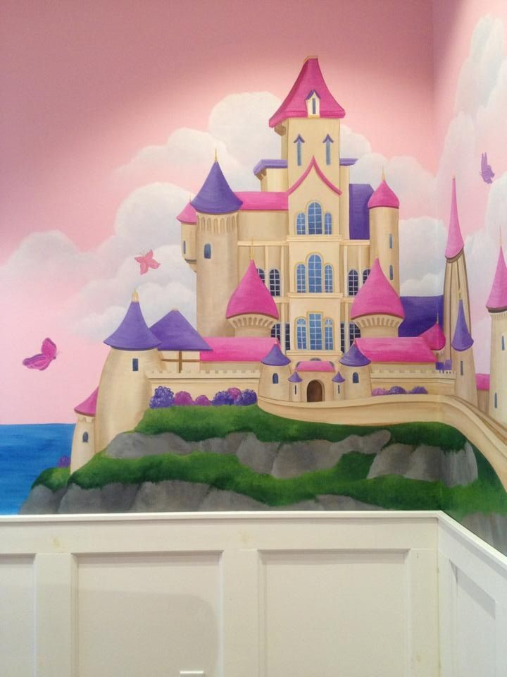 Most Little Girls Dream Of Being A Princess   This Castle Mural On Her  Bedroom Wall