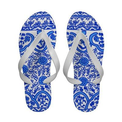 Blue and white flip-flops
