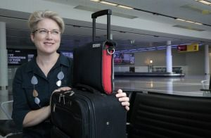 """The Canberra Times : """"Trish Smith with the Airpocket carry-on bag that she will launch on Kickstarter."""""""