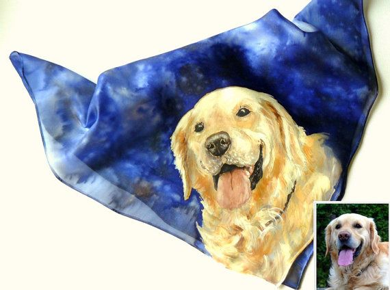 Custom pet portrait on SILK scarf or shawl from your photo! Hand painted, NOT PRINT!!! Made to order.    Prices and sizes:    - Scarf, kerchief: 21x21